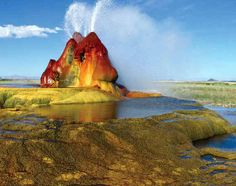 Fly Geyser, Nevada  The Fly geyser at Nevada grows by an inch every year.