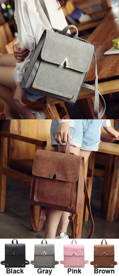 Retro Frosted PU Flap Square School Backpack V Shaped Leisure College Backpack for big sale! #Backpack #Bag #college #school #student #leisure #retro