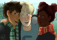 """Albus discovered a Muggle thing called a """"selfie""""! So of course he had to get Rose and Scorpius to try it out with him. By @marisdraws"""