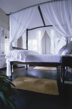 Colonial plantation style with gossamer fabrics would erase any thought of those nasty mosquitoes.