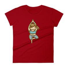 Red Yoga Girl Short Sleeve T-Shirt for Women