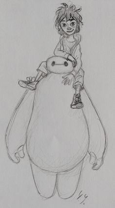 Sketch of disney's upcoming movie: big hero six. Disney Sketches, Disney Drawings, Upcoming Disney Movies, Disney Fan Art, Disney Artwork, Collage Drawing, Walt Disney Animation Studios, Puppy Mills, Big Hero 6