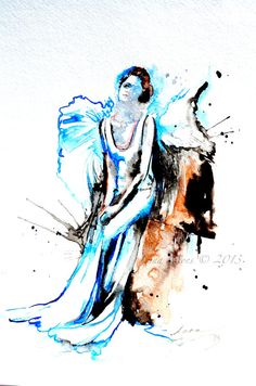 Angel Original Watercolor Painting, contemporary modern wall art illustration home wall decor - Watercolor by Lana
