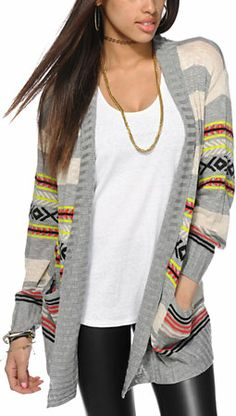 Eyeshadow Stripe Tribal Cardigan Sweater
