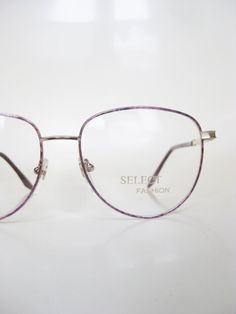 Vintage 1980s Wire Rim Eyeglasses Glasses Pastel Pink Rose Gold Oversized Womens Geek Chic Nerdy Deadstock NOS New Old Stock Indie Hipster