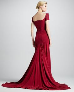 Zac Posen Off-the-Shoulder Sweetheart-Neck Gown, Tuscan Red - Neiman Marcus