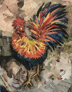By Katie Waller Torn Paper Collage Art. Mr. Crazy-Man Rooster! :
