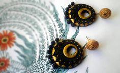 Boucles d'oreilles indiens en noir et or  par ArtistriIndia sur Etsy