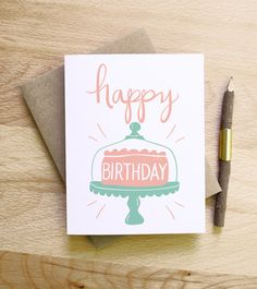 Happy Birthday cake illustrated drawing birthday card pastels candles retro vintage style calligraphy handwriting pink mint white. $4.00, via Etsy.