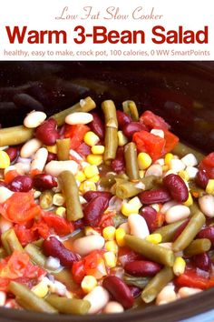 Low in fat and packed with fiber, this vegetarian Warm Slow Cooker Salad makes a colorful, flavorful addition to picnics, potlucks and family gatherings! Beans In Crockpot, Slow Cooker Beans, Slow Cooker Recipes, Crockpot Recipes, Skinny Recipes, Ww Recipes, Low Calorie Recipes, Dairy Free, Gluten Free