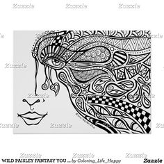 WILD PAISLEY FANTASY YOU COLOR IT POSTER 18X24