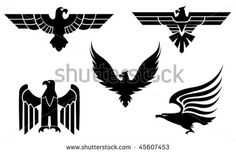 Eagle symbol isolated on white for tattoo design - also as emblem or logo template. Jpeg version is also available - stock vector