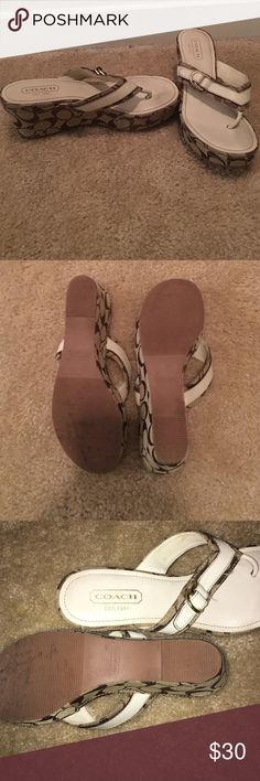 Authentic Coach Wedges Lightly worn white and tan Coach wedges Coach Shoes Wedges
