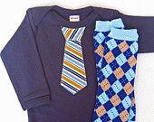 Light Blue Baby Boy Tie Onesie matching navy leg by WeChooseJoy. $22.50, via Etsy.