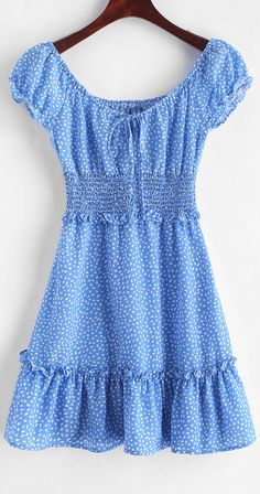 Smocked Frilled Raindrop Print Mini Dress - - Style: Fashion Occasion: Vacation Material: Polyester Silhouette: A-Line Dresses Length: Mini Collar-line: Scoop Collar Sleeves Length: Short Sleeves Decoration: Ruffles Source by Cute Casual Outfits, Casual Dresses, Summer Outfits, Summer Dresses, Blue Dress Casual, Teen Fashion Outfits, Style Fashion, Dress Fashion, Ruffles