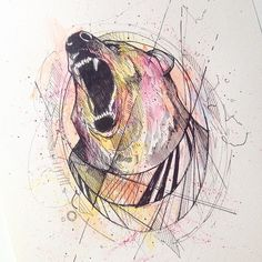 Bear watercolor ink  © Alfred Basha