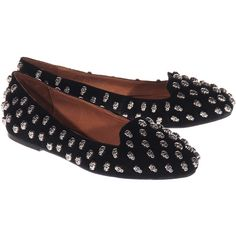 JEFFREY CAMPBELL Skulltini Black Studded leather loafers ($130) ❤ liked on Polyvore