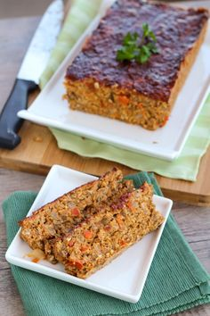Buffalo Lentil Loaf - a healthy tasty vegetarian meatloaf alternative! Use flax egg instead of eggs for vegans Healthy Recipes, Veg Recipes, Delicious Vegan Recipes, Clean Eating Recipes, Whole Food Recipes, Cooking Recipes, Healthy Snacks, Dinner Recipes, Tasty Vegetarian