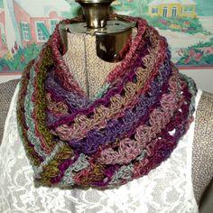 ON SALE Crochet Infinity Scarf Purple Mauve by WildHeartYarnings