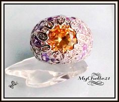 Unique! Large Crystal Deep set Big Dome ring w/Purple Crystals. Starting at $18