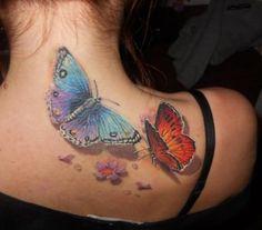 3D butterfly tattoo 63 - 65 3D butterfly tattoos  <3 <3