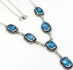 LOVELY GIFT SHINY SKY BLUE TOPAZ 925 STERLING SILVER CHAIN NECKLACE 19'' GF602 #Hermosa #ChainCharm