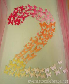 Pensei em fazer com estrelas e um degradê do azul marinho pro amarelo, das cores do baque.  Butterfly Themed Party - paper butterfly wall decoration - eventstocelebrate...