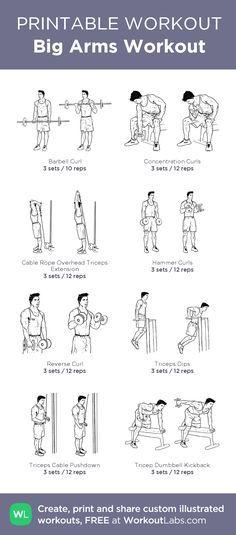 Big Arms Workout:my custom printable workout by @WorkoutLabs #workoutlabs #customworkout