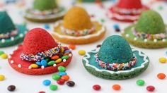 Colorful sombrero shaped cookies filled with a candy surprise!