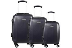 Luggage Sets Collections | 3piece rigid luggage set PIERRE CARDIN blue cabin baggage S291 -- To view further for this item, visit the image link. Note:It is Affiliate Link to Amazon.