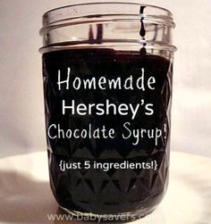Hershey's Chocolate Syrup DIY Hershey's chocolate syrup with 5 ingredients. Made this yesterday and it tastes EXACTLY like the real thing!DIY Hershey's chocolate syrup with 5 ingredients. Made this yesterday and it tastes EXACTLY like the real thing! Cat Recipes, Cooking Recipes, Recipies, Vegan Recipes, Chocolate Syrup Recipes, Homemade Chocolate Syrup, Chocolate Sauce Recipe Cocoa Powder, Chocolate Milk Powder, Cocoa Powder Recipes