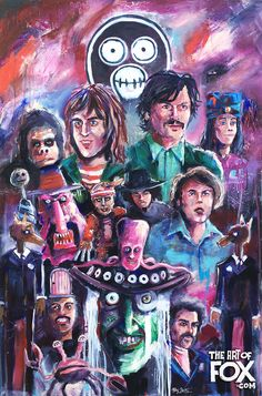 """THE ZOONIVERSE"" Acrylic Painting. Mighty Boosh Fan Art #mightyboosh #themightyboosh #noelfielding #julianbarratt #howardmoon #vincenoir #fanart #lowbrowart #acrylic #painting #acrylicpainting #mixedmedia #art"