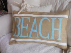 Natural Burlap BEACH Pillow Slip by TheLetteredHome on Etsy, $35.00