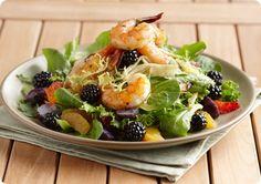Cedar Grilled Prawns with Blackberry Citrus Salad. Hot Summer Nights.