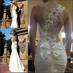 Gorgeous Pearls Beaded Mermaid Wedding Dresses Sheer Jewel Neck Side Zipper Sweep Train 2015 High Quality Stain Bridal Gowns Cheap from Fantasy_bride,$124.54   DHgate.com