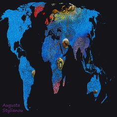 World Map And Cancer Constellation  Augusta Stylianou