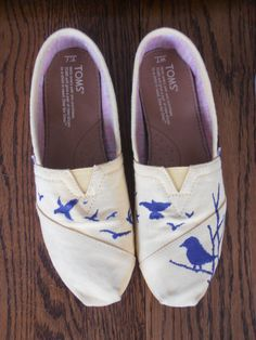 Hand Painted Custom TOMS with birds by AfterTheRainStudio on Etsy, $70.00