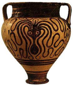 "Cratere dipinto, ""Piovra"" . arte Micenea, ca.1400-1300 a.C. da Lalysos"