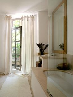La Bastide des Chenes-20-1 Kind Design. Muted tones of an airy, flowing bathroom.