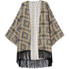 Choies Vintage Geometric Pattern Kimono Coat With Tassel ($29) ❤ liked on Polyvore