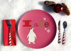 Personalized Girl Holiday Plate Penguin by Dylbug on Etsy, $20.00