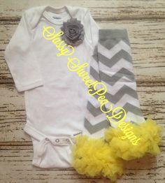 Gray Shabby Flower Onesie with Gray Chevron Ruffle Legearmers.. Newborn, Baby, Girls Photo Prop by SassySweetPeaDesigns on Etsy