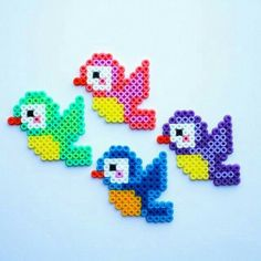 Birds hama perler beads by Little Miss Productive Melty Bead Patterns, Pearler Bead Patterns, Perler Patterns, Beading Patterns, Hama Beads Design, Diy Perler Beads, Perler Bead Art, Hama Perler, Plastic Fou