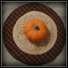 Primitive Pumpkin Candle Mat by ButtonsInTheAttic on Etsy