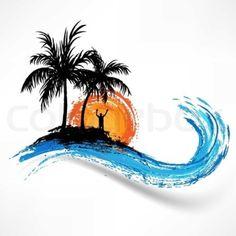 Watercolor Palm Tree Tattoo Simple New Ideas Hawaiianisches Tattoo, Body Art Tattoos, Small Tattoos, Sleeve Tattoos, Tattoos For Guys, Cool Tattoos, Beach Tattoos, Tatoos, Ocean Wave Tattoos