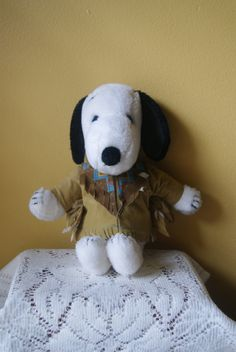 Vintage Plush Snoopy, Native American Indian Costume, Thanksgiving, Peanuts Collectible, Silly Beagle, Stuffed Dog, Fun Gift, 1970s, 1980s by BrindleDogVintage on Etsy