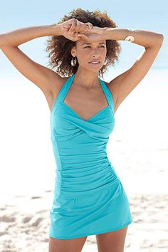 Carribean Rushed Halter Two Peice Skirtini. This would be good for paddleboarding!