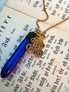 Antique Evening in Paris Perfume Vial Necklace - Cobalt Blue. $45.00, via Etsy.