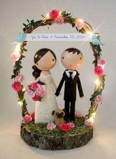 fairy lights wedding cake topper  with wood by lollipopworkshop