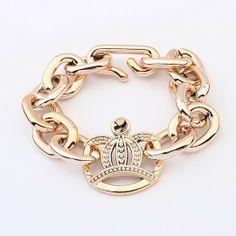 Min ordem 10 usd( itens mix) moda europa simples ouro chapeado grande coringa coroa de jóias pulseira